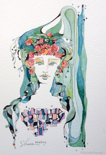 Paint September ~ Day 29 ~ She Wore Flowers In Her Hair